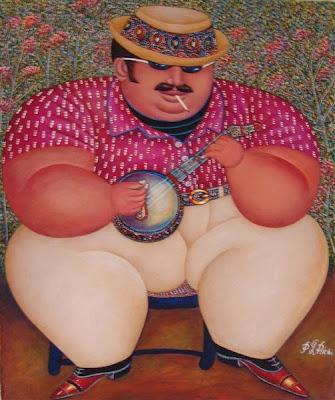 Peintre Haïtien - L'Homme au Banjo - Pierre-Louis Riché