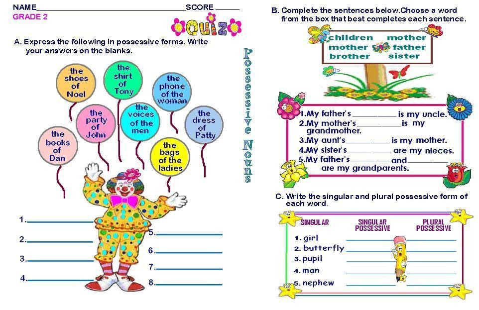 Worksheets English Activities For Grade 3 Students grammar worksheets grade 2 possessive nouns