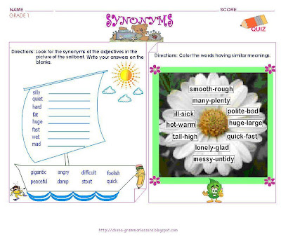 GRAMMAR WORKSHEETS: GRADE 1 -