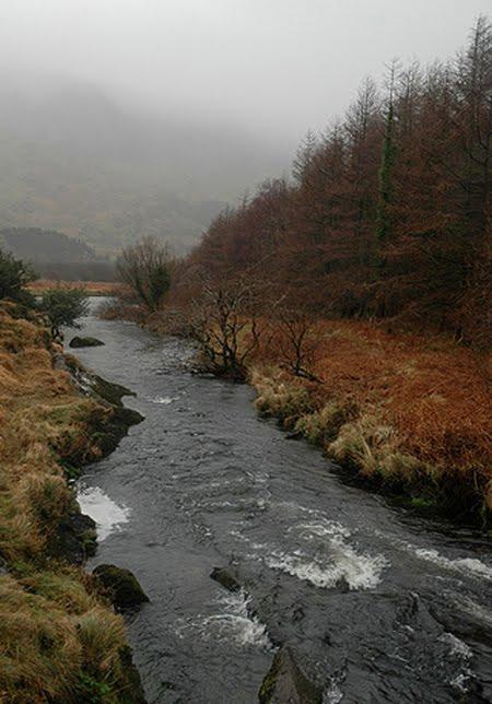Den Cummeragh River am ieweschten Deel, wou et nemmen nach eng kleng Baach ass.