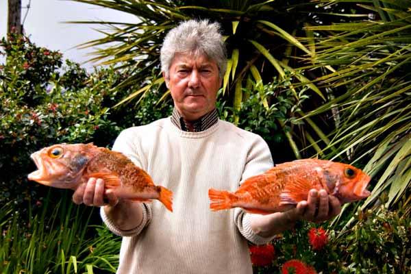 Den Des Connell mat 2 specimen fish (2 Bluemouth). Aus der Famill vun der Rascasse