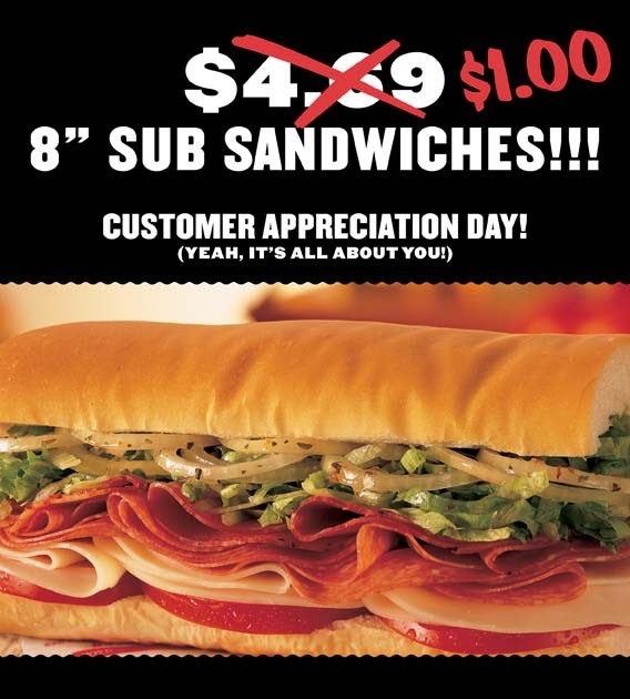 image about Jimmy Johns Printable Coupons named LOL/OMG: $1 Subs at Jimmy Johns these days in opposition to 11am-3pm