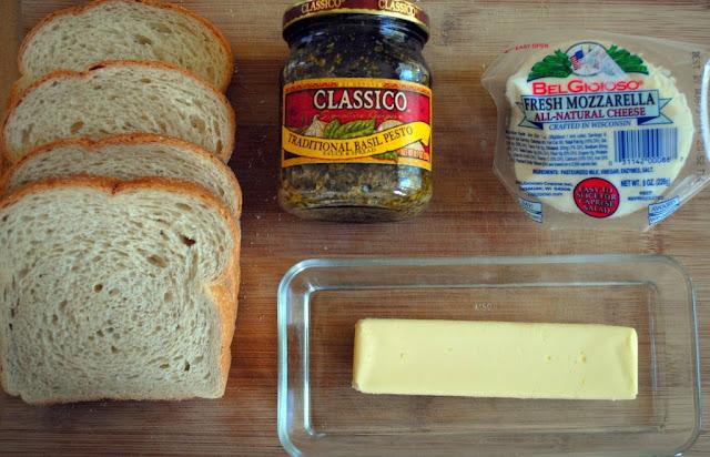 Ingredients for Grilled Pesto & Mozzarella Sandwich