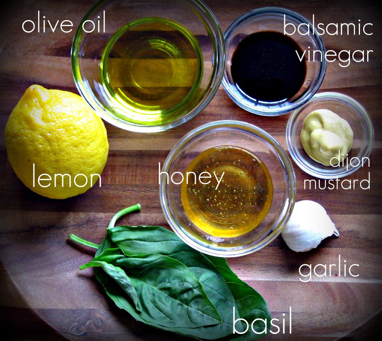 is what you need: a lemon, olive oil, balsamic vinegar, honey, Dijon ...