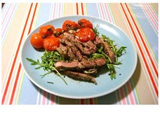 lamb tagliata with oven-roast tomatoes