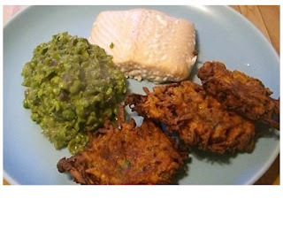 baked salmon, minted peas and sweet potato cakes