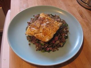roast cod on lentils