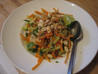sesame chicken salad with cucumber and celery
