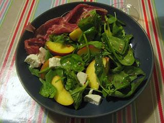 mozzarella, peach, basil and parma ham salad