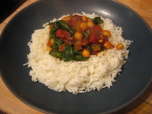 allegra mcevedy's karma soupra and spinach, tomato & chick pea curry
