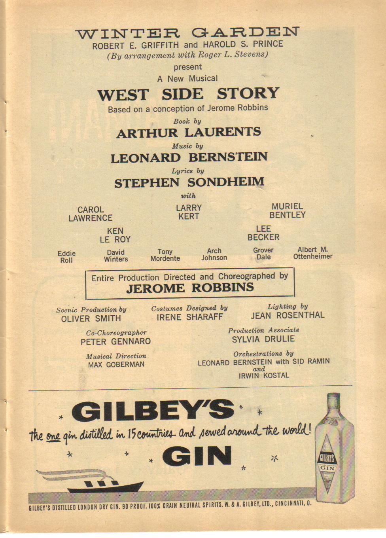adventures in playbills west side story 1958 winter garden