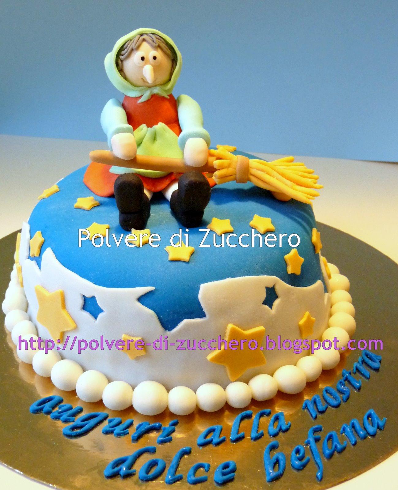 Torta befana in pasta di zucchero polvere di zucchero for Decorazione torte e cupcake