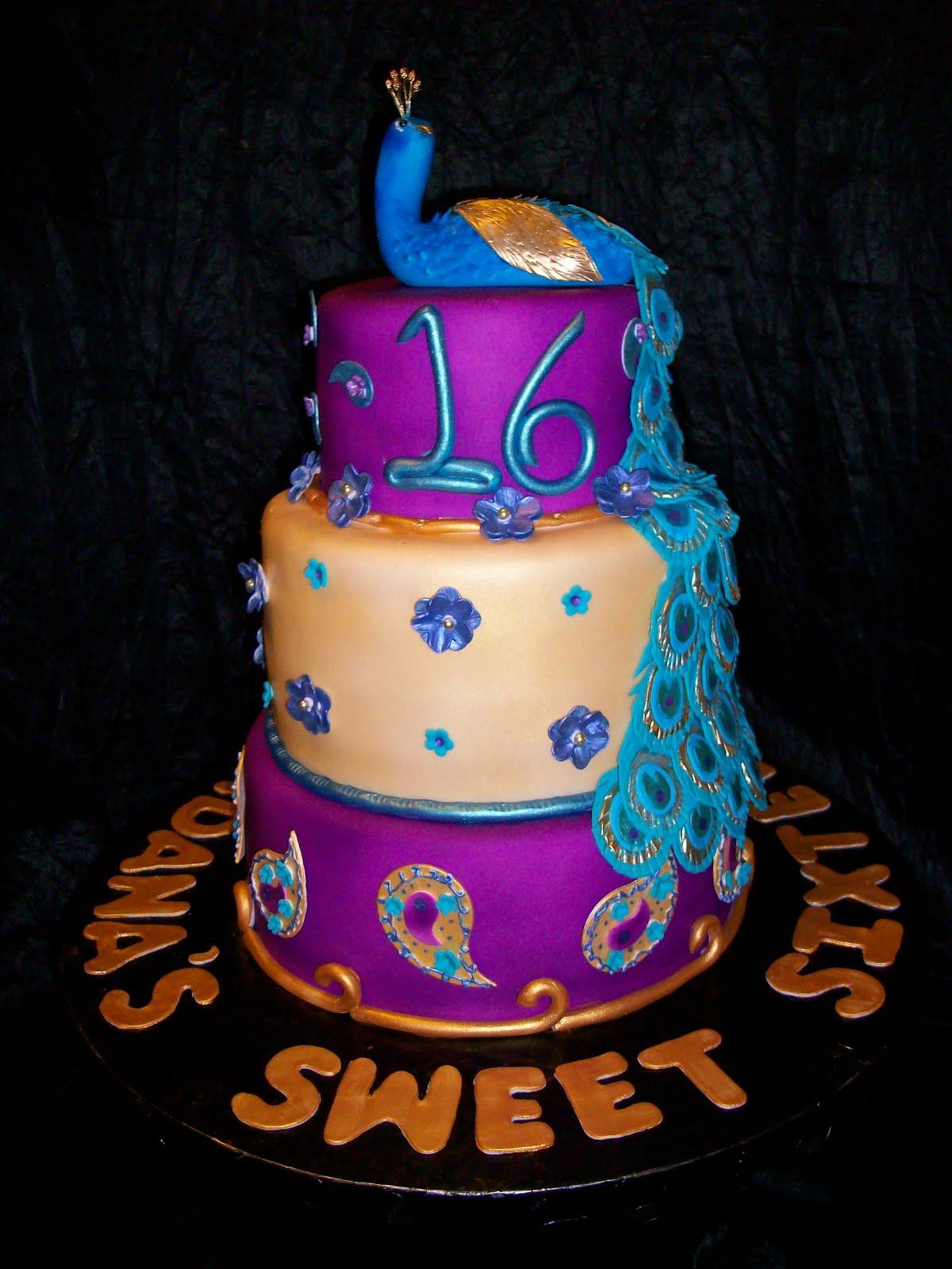 Peacock Themed Sweet Sixteen Cake