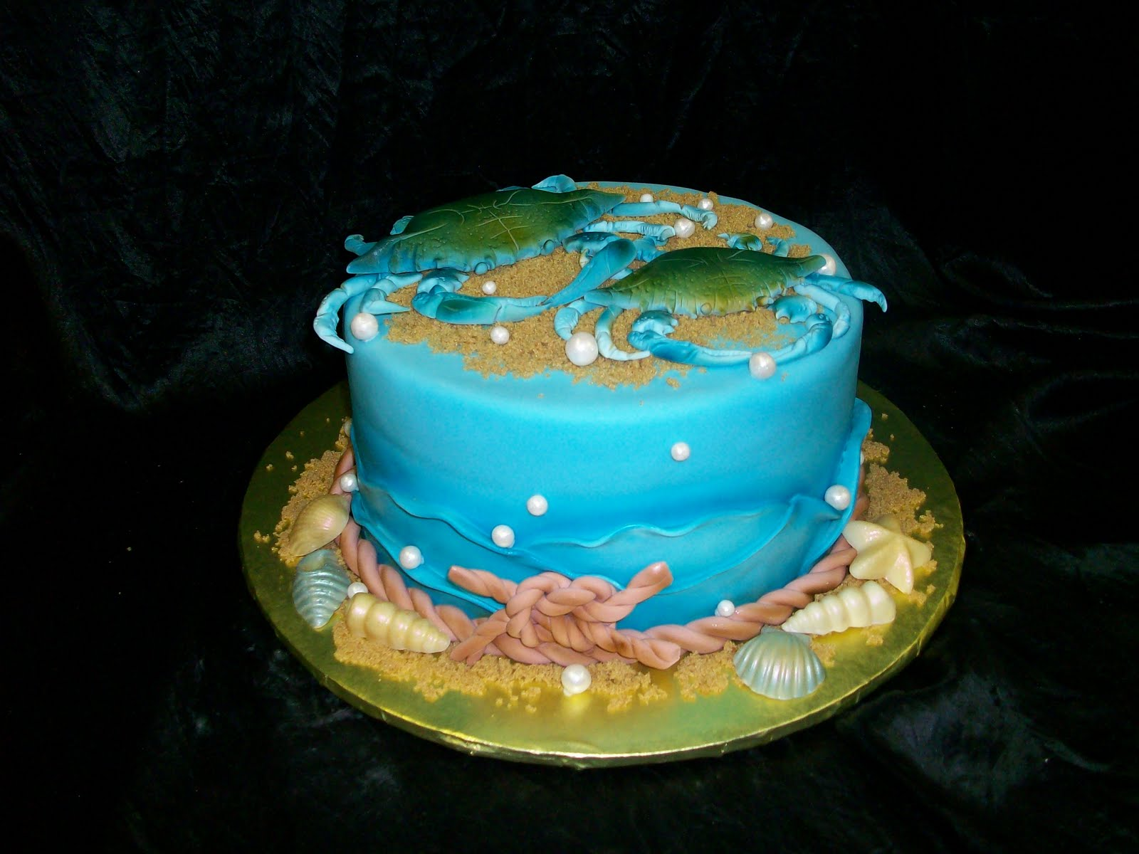 On Birthday Cakes Blue Crab Engagement Cake