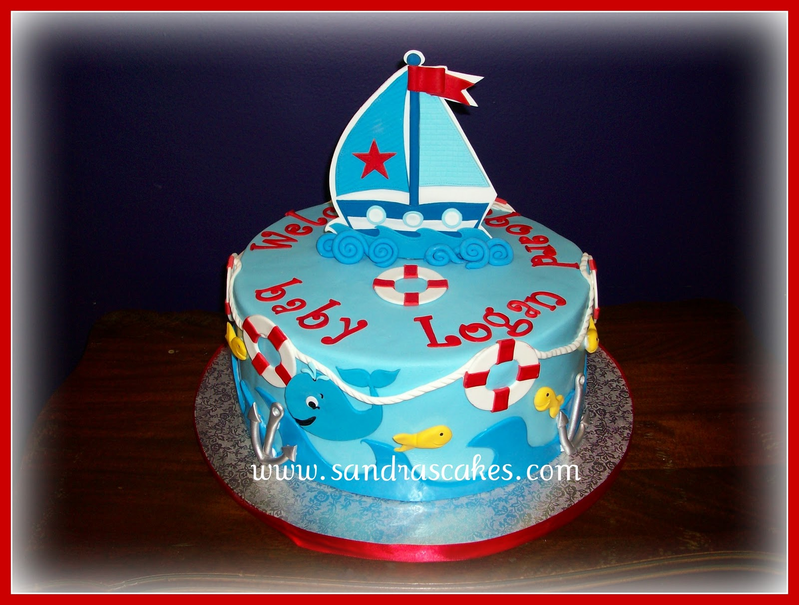 sailor themed baby shower cake