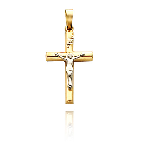 Two-tone Gold Hollow Crucifix