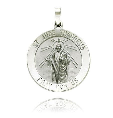 White Gold Saint Jude Medal
