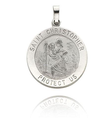 White Gold Saint Christopher Medal