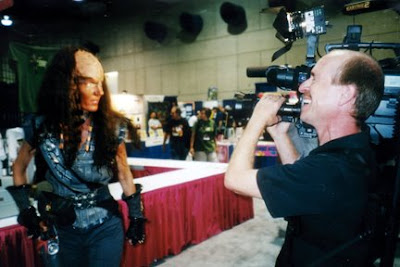 Female Klingon poses for DP Mark Schulze - Photo by San Diego video producer Patty Mooney of Crystal Pyramid Productions
