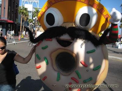 Glazed donut mascot - Photo by San Diego video producer Patty Mooney of Crystal Pyramid Productions