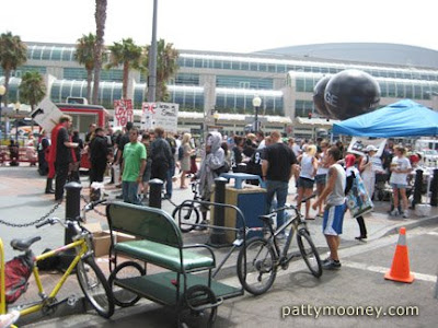 Pedicabs lined up across the street from San Diego Convention Center - Photo by San Diego video producer Patty Mooney of Crystal Pyramid Productions