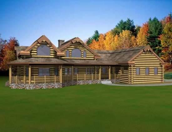 Split level log home for Single level log home plans