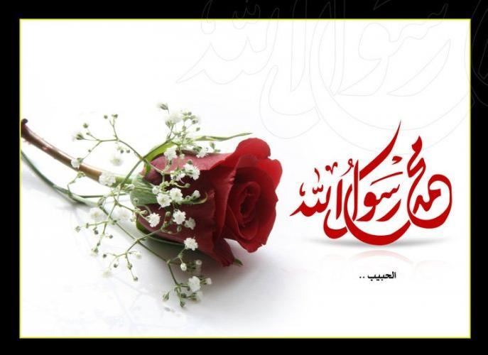 Muhammad Rasool Allah With Red Rose - Islamic Wallpaper