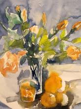 aquarelle ;roses du mois de mai de Vicky
