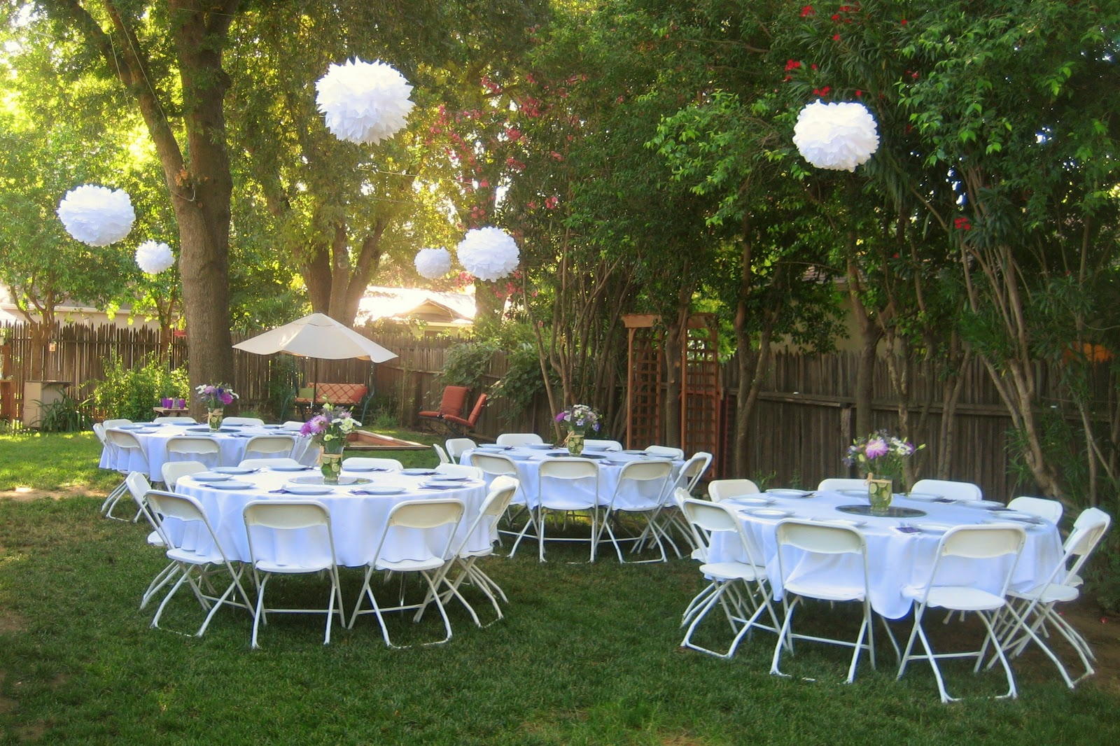 A resting place for completed projects backyard bridal for Wedding party ideas