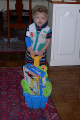 Pulling toys in wagon