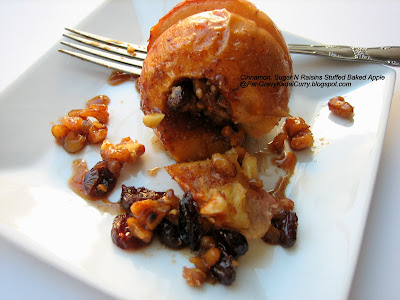 Cinnamon, Sugar and Raisins Stuffed Baked Apples , and