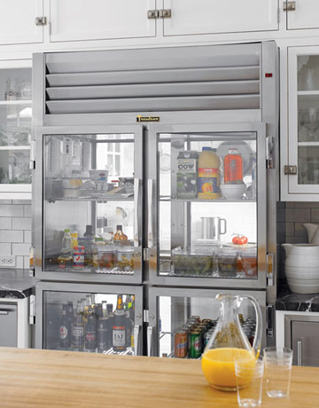 Captivating A Clear Glass Refrigerator Door.