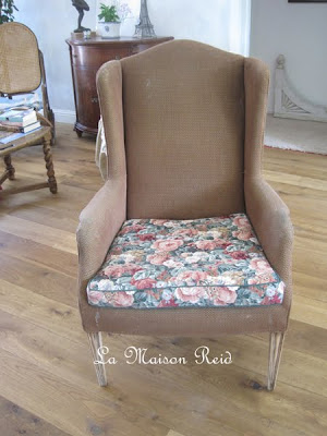 Thrift store wing chair re-do