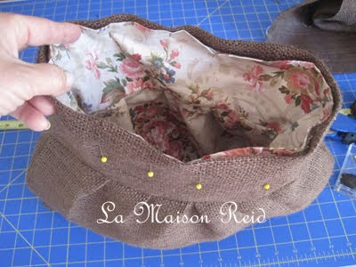 Make Lining for Burlap Purse, make a burlap bag