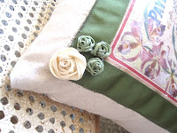 Grosgrain Ribbon Roses on French Feedsack Style Pillow Tutorial