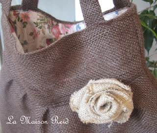 Burlap Bag with Shabby Rose Tutorial
