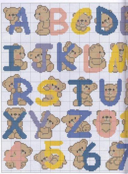 GRAFICOS PUNTO DE CRUZ GRATIS : ABECEDARIOS INFANTILES(52)
