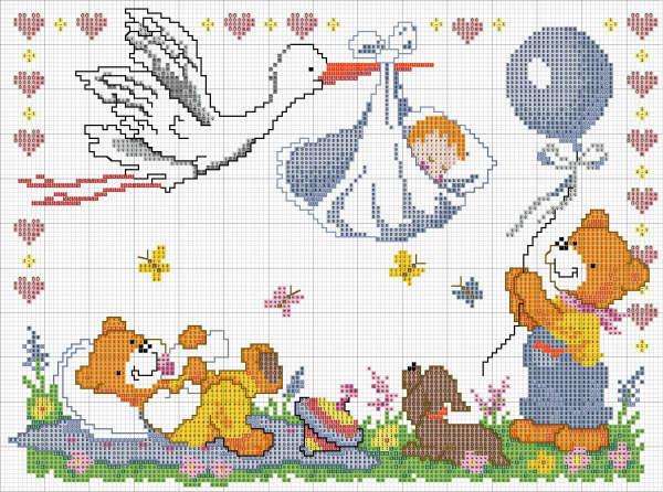 Схемы для вышивки с новорожденными детьми