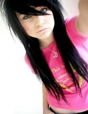 black emo hairstyle. Black hair makes blue eyes pop