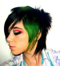 Short Emo Hair with Green