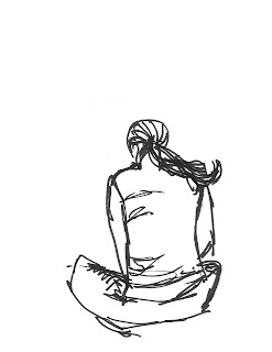 how to draw people sitting on a beanch
