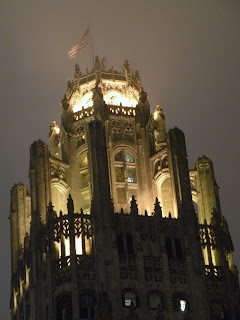 The Chicago Tribune Tower on a cloudy evening