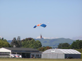 Skydiver about to land