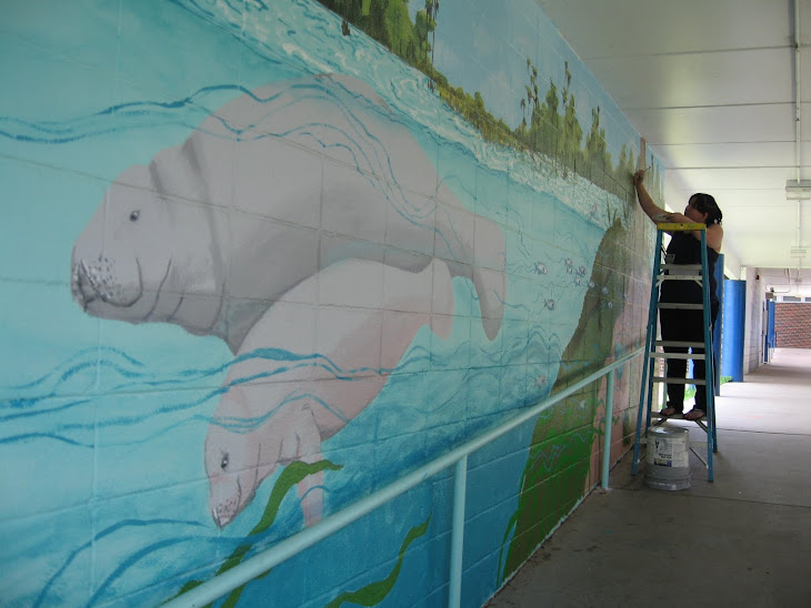 Manatees in the mural