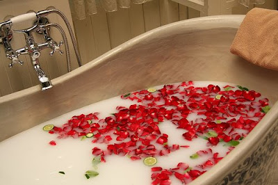 Milk and rose petals bath at DVN Flickr photo by Dennis Wong