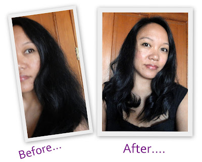 Before and After hair using Conair Infiniti You Style