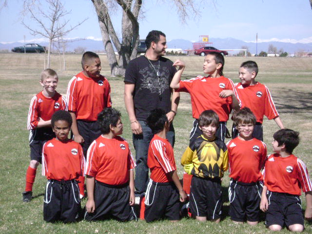 My son's undefeated soccer team!
