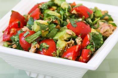 tuna tomato avocado coriander lime salad Avoid Bad Fats But Still Enjoy Your Food (Recipe)
