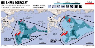 marée noire en Louisiane - marée noire Golfe du Mexique -  prévisions - BP Louisiane