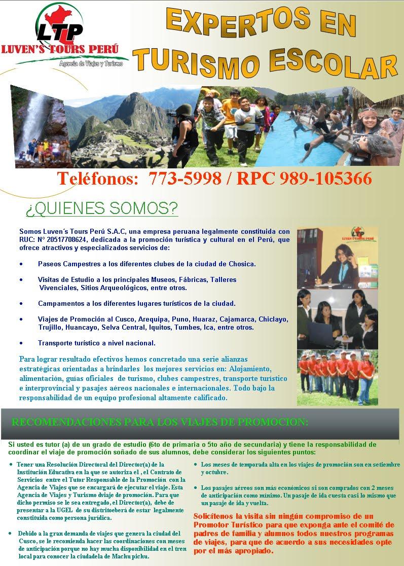 LUVEN´S TOURS PERU - TURISMO Y VIAJES PARA ESCOLARES